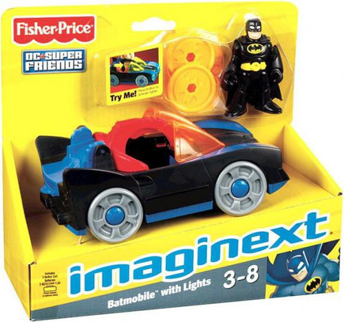 Fisher Price DC Super Friends Imaginext Batmobile with Lights 3-Inch Figure Set
