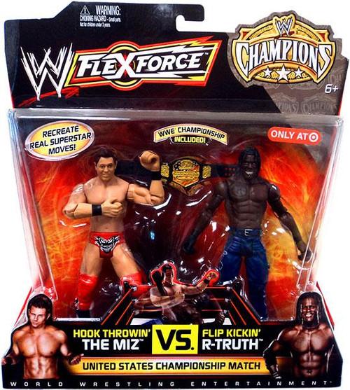 WWE Wrestling Battle Pack FlexForce Champions Hook Throwin' The Miz Vs. Flip Kickin' R-Truth Exclusive Action Figure 2-Pack