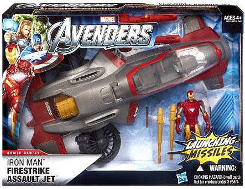 Marvel Avengers Comic Series Iron Man Firestrike Assault Jet Action Figure Vehicle