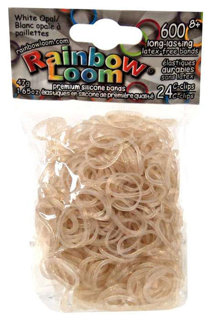 Rainbow Loom White Opal Rubber Bands Refill Pack [600 Count]