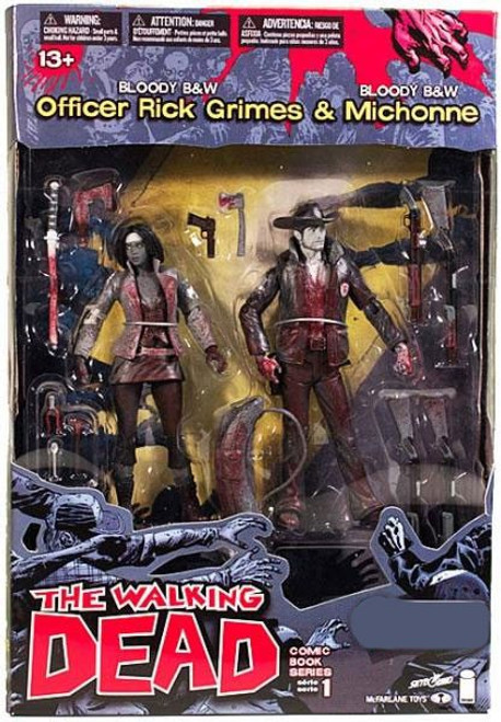 McFarlane Toys The Walking Dead Comic Bloody Black & White Rick Grimes & Michonne Exclusive Action Figure 2-Pack