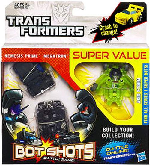 Transformers Bot Shots Battle Game Nemesis Prime, Megatron & Acid Storm Action Figure 3-Pack