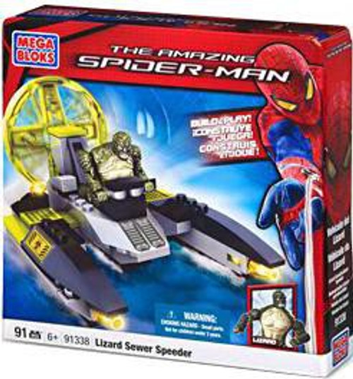 Mega Bloks Amazing Spider-Man Lizard Sewer Speeder Set #91338
