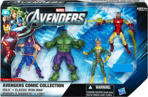 Marvel Avengers Comic Series Hulk, Iron Man, Hawkeye & Loki Exclusive Action Figure 4-Pack