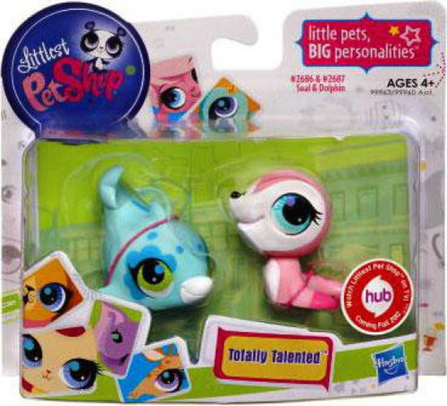 Littlest Pet Shop Totally Talented Pets Seal & Dolphin Figure 2-Pack #2686, 2687