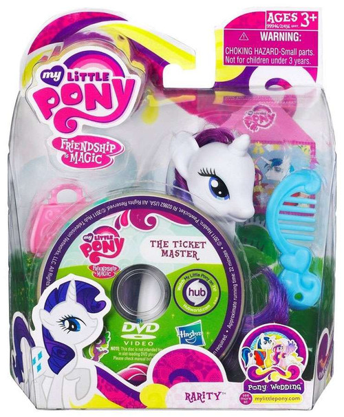 My Little Pony Friendship is Magic Pony Wedding Rarity & The Ticket Master DVD Figure Set