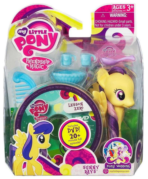 My Little Pony Friendship is Magic Pony Wedding Sunny Rays & Lesson Zero DVD Figure Set