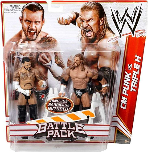 WWE Wrestling Battle Pack Series 18 CM Punk vs. Triple H Action Figure 2-Pack [Ringside Barricade]