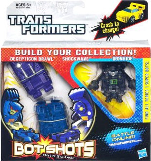 Transformers Bot Shots Battle Game Brawl, Shockwave, Ironhide Action Figure 3-Pack
