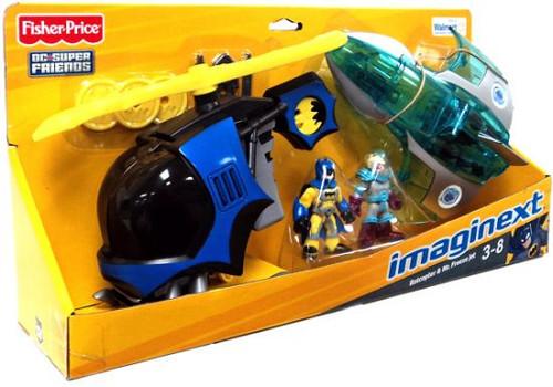 Fisher Price DC Super Friends Imaginext Batcopter & Mr. Freeze Jet Exclusive 3-Inch Figure Set