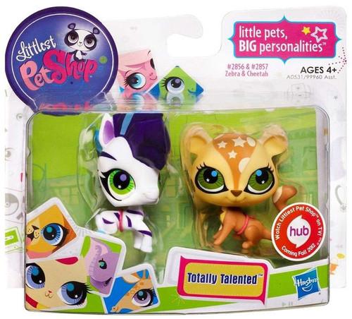 Littlest Pet Shop Totally Talented Pets Zebra & Cheetah Figure 2-Pack #2856 & 2857