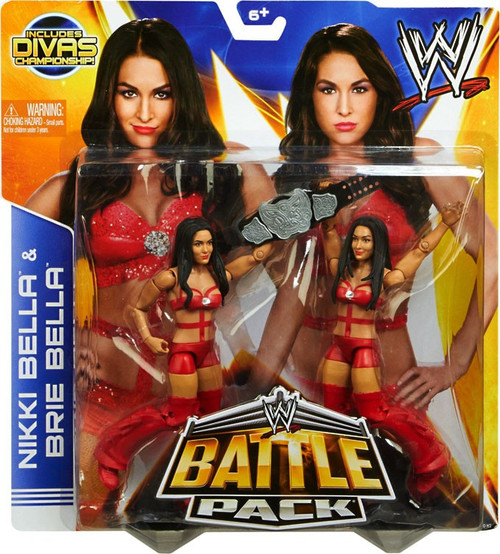 WWE Wrestling Battle Pack Series 26 Nikki Bella & Brie Bella Action Figure 2-Pack [Red Outfits, Divas Championship]
