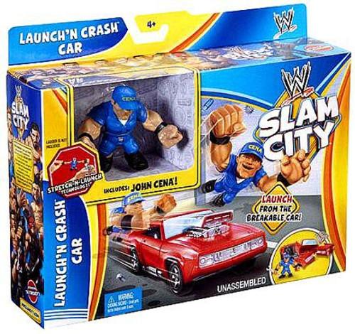 WWE Wrestling Slam City Launch'N Crash Car Mini Figure Playset