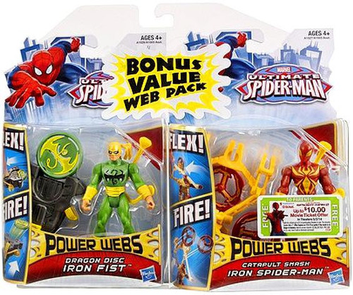 Ultimate Spider-Man Power Webs Catapult Smash Iron Spider-Man & Dragon Disc Iron Fist Exclusive Action Figure 2-Pack