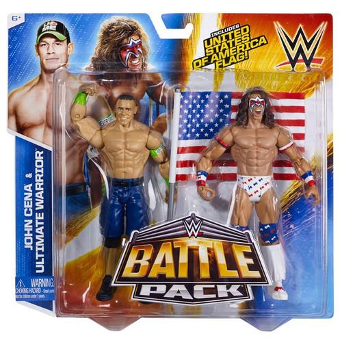 WWE Wrestling Battle Pack Series 31 Ultimate Warrior & John Cena Action Figure 2-Pack [United States of America Flag]