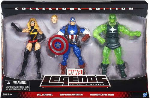 Marvel Legends Infinite Series Ms. Marvel, Captain America & Radioactive Man Exclusive Action Figure 3-Pack
