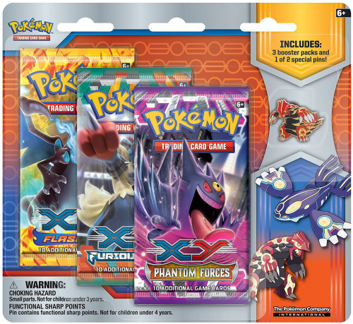 Pokemon Trading Card Game XY Primal Groudon Pin Collection [3 Booster Packs & Pin]