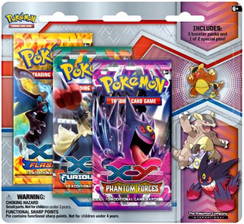 Pokemon Trading Card Game XY Mega Evolution Mega Kangaskhan Pin Collection [3 Booster Packs & Pin]
