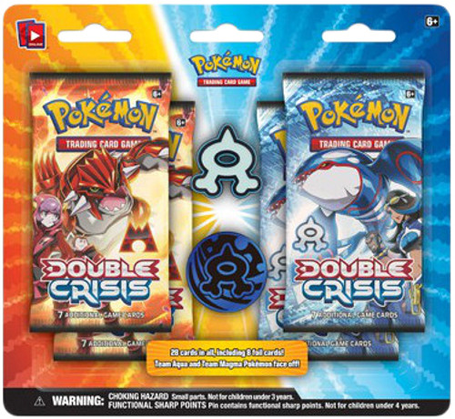 Pokemon Trading Card Game XY Double Crisis Team Aqua Pin Collection [4 Booster Packs!]