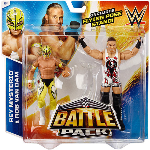 WWE Wrestling Battle Pack Series 33 Rey Mysterio & Rob Van Dam Action Figure 2-Pack [Flying Pose Stand]