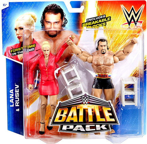 WWE Wrestling Battle Pack Series 34 Lana & Rusev Action Figure 2-Pack [Breakable Blocks]