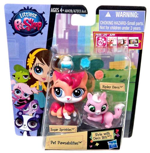 Littlest Pet Shop Pet Pawsabilities Sugar Sprinkles & Ripley Davis Figure 2-Pack #8428 [Pink Hair]