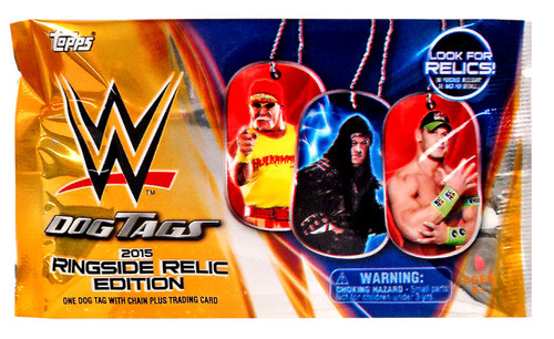 WWE Wrestling Topps 2015 Ringside Relic Edition Dog Tag / Trading Card Pack