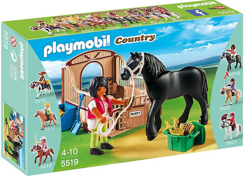 Playmobil Country Black Stallion with Stall Set #5519