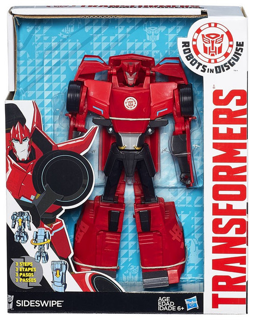 "Transformers Robots in Disguise Hyper Change Heroes Sideswipe 10"" Action Figure [3-Step Changer]"