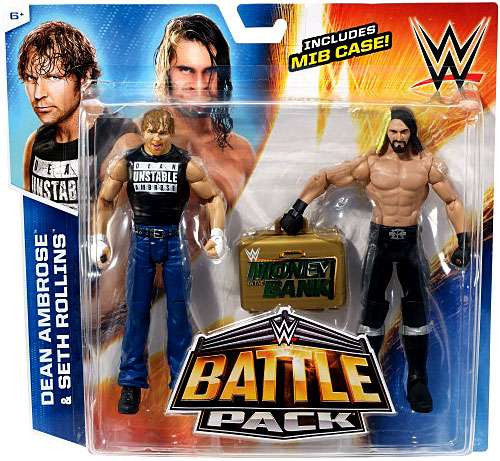 WWE Wrestling Battle Pack Series 36 Dean Ambrose & Seth Rollins Action Figure 2-Pack [Money in the Bank Briefcase]