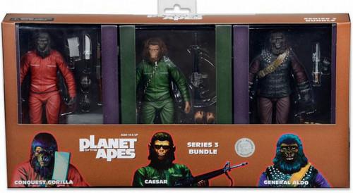NECA Planet of the Apes Classic Series 3 Exclusive Set of 3 Action Figures [General Aldo, Caesar & Conquest Gorilla]