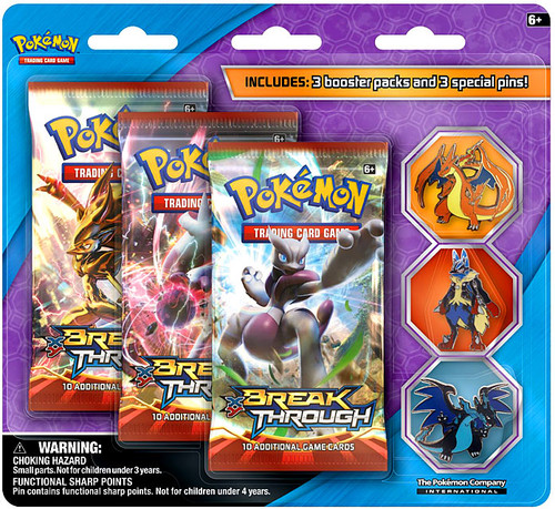 Pokemon Trading Card Game XY Charizard X, Charizard Y & Lucario Mega Evolution Pin Set