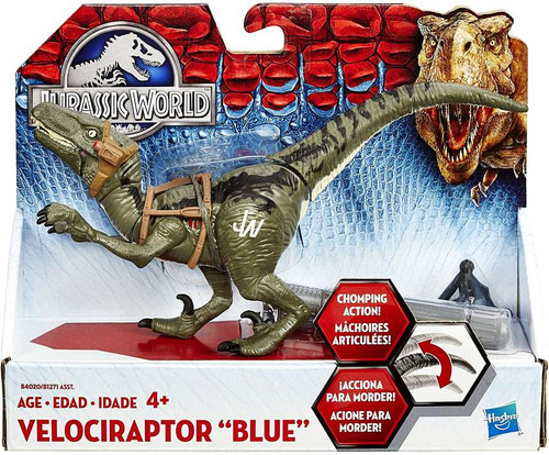Jurassic World Bashers & Biters Velociraptor Blue Action Figure