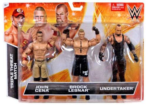 WWE Wrestling John Cena, Brock Lesnar & Undertaker Exclusive Action Figure 3-Pack [Triple Threat Match]