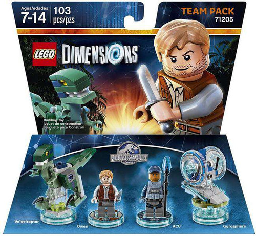 LEGO Dimensions Jurassic World Velociraptor, Owen, ACU & Gyrosphere Team Pack #71205