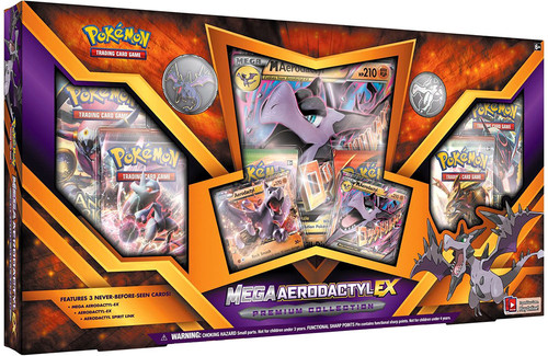 Pokemon Trading Card Game Mega Aerodactyl-EX Premium Collection [6 Booster Packs, 3 Promo Cards, Oversize Card & Pin!]