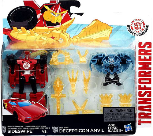 Transformers Robots in Disguise Minicon Battle Pack Sideswipe & Decepticon Anvil Action Figure