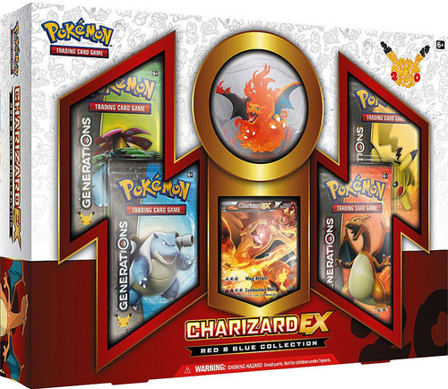 Pokemon Trading Card Game Charizard EX Red & Blue Collection [4 Generations Booster Packs, Figure & Promo Card!]