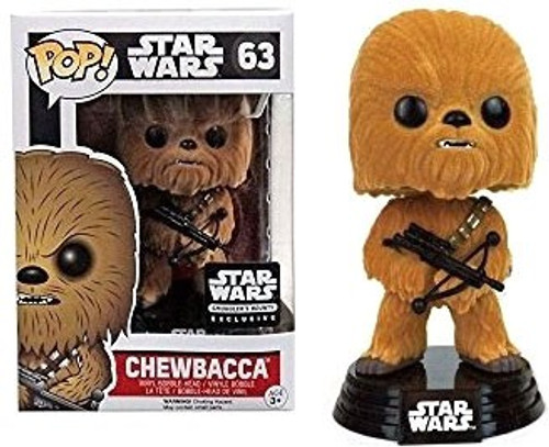 Funko The Force Awakens POP! Star Wars Chewbacca Exclusive Vinyl Bobble Head #63 [Flocked]