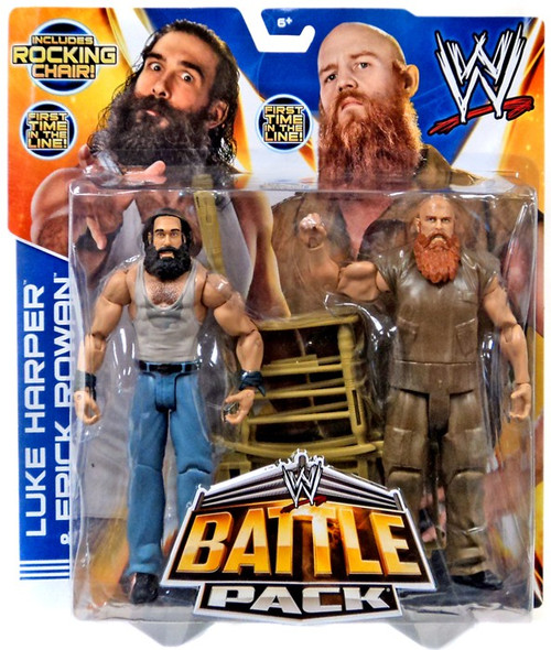 WWE Wrestling Battle Pack Series 28 Luke Harper & Erick Rowan Action Figure 2-Pack [Rocking Chair, Damaged Package]