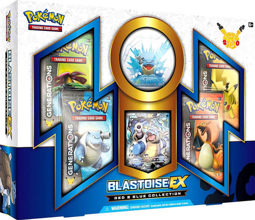 Pokemon Trading Card Game Blastoise EX Red & Blue Collection [4 Generations Booster Packs, Figure & Promo Card!]