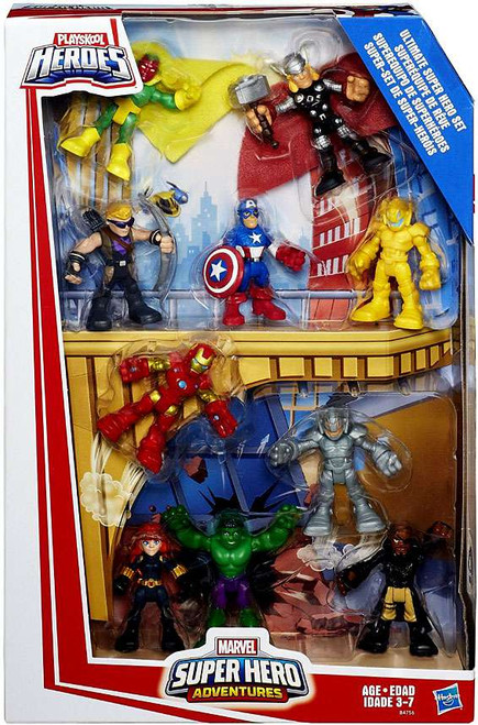 Marvel Playskool Heroes Super Hero Adventures Ultimate Superhero Set Action Figure 10-Pack