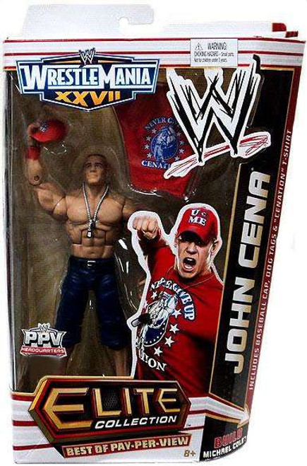 WWE Wrestling Elite Collection WrestleMania 27 John Cena Exclusive Action Figure [Build Michael Cole]