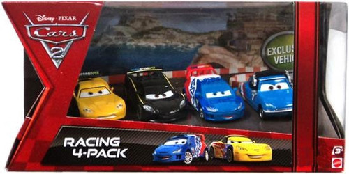 Disney / Pixar Cars Cars 2 Racing 4-Pack Motoreau, Caroule, Gorvette & Hamilton Exclusive Diecast Car Set