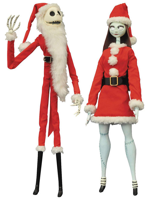 Nightmare Before Christmas Coffin Doll Santa Jack & Sally 16-Inch Doll Set