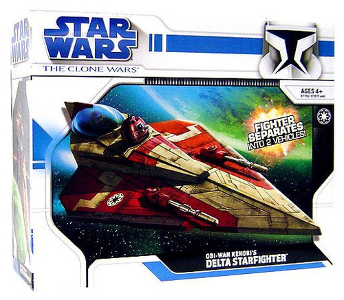 Star Wars The Clone Wars 2008 Obi-Wan Kenobi's Delta Starfighter Action Figure Vehicle [Version 1]