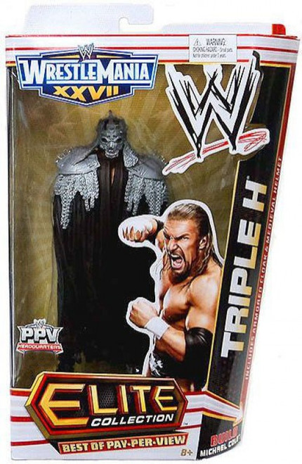 WWE Wrestling Elite Collection WrestleMania 27 Triple H Exclusive Action Figure [Build Michael Cole]