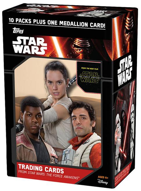 Star Wars Series 1 The Force Awakens Trading Card BLASTER Box [10 Packs + 1 Medallion Card]