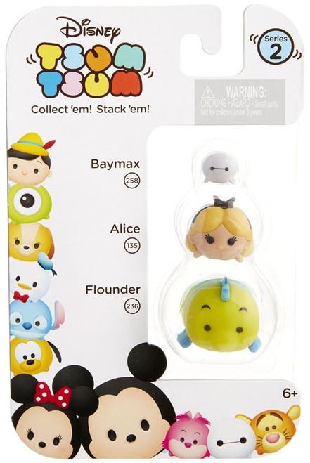 Disney Tsum Tsum Series 2 Baymax, Alice & Flounder Minifigure 3-Pack #258, 135 & 236