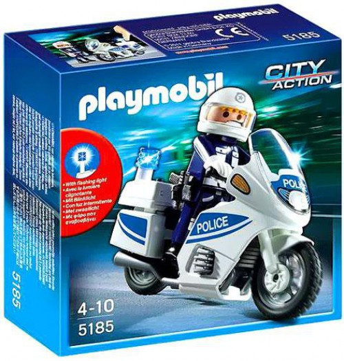 Playmobil City Action Police Motorcycle Set #5185 [Damaged Package]